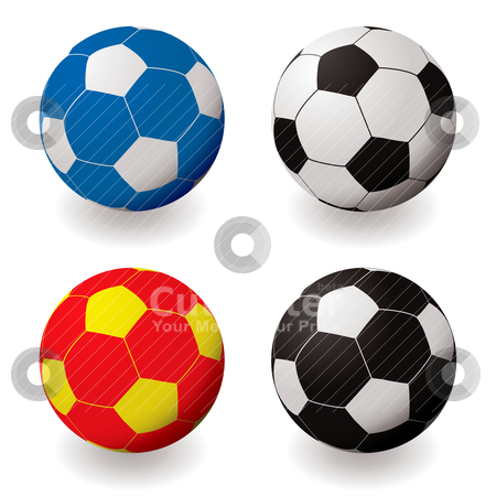 Football variation stock vector clipart, Collection of colorful illustrated footballs with shadow in red and blue by Michael Travers
