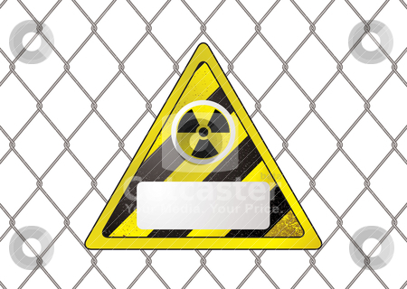 Wire fence nuclear stock vector clipart, Triangular nuclear sign attached to a wire fence with copy space by Michael Travers