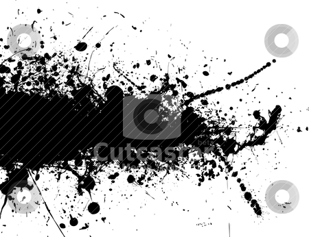 Black banner spray stock vector clipart, Black ink spray banner with room to add your own text by Michael Travers