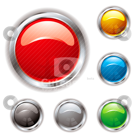Silver bevel gel button stock vector clipart, Gel filled button in six colour variations and silver bevel with shadow by Michael Travers