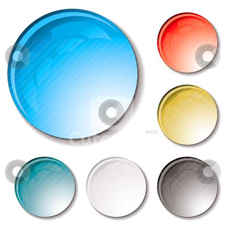 Bubble buttons gel stock vector clipart, Water droplets in different colours with a shadow and can be used as web icons by Michael Travers