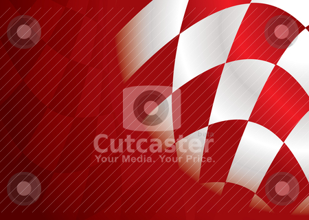 Checkered corner red stock vector clipart, Red and white checkered flag background with room to add text by Michael Travers