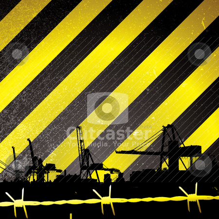 Crane stripe stock vector clipart, Crane silhouette with yellow and black stripes and barbwire by Michael Travers