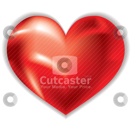 Love heart shimmer stock vector clipart, Red love heart with gel effect and drop shadow by Michael Travers