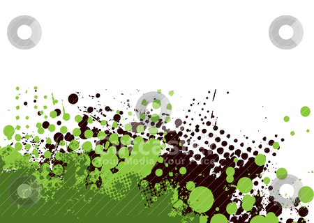 Grunge subtle green stock vector clipart, Grunge halftone background in green and black with copy space by Michael Travers