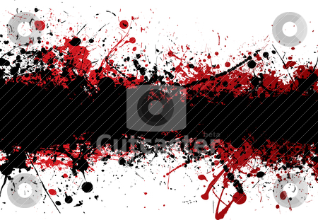 Blood strip top black stock vector clipart, Blood red ink splat overlayed with black abstract banner by Michael Travers
