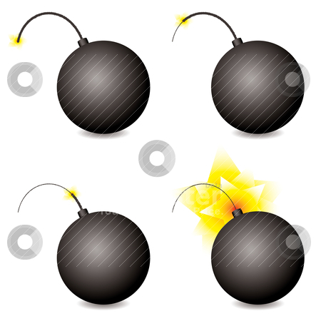 Bomb stock vector clipart, Story of a cartoon bomb at different stages with shadow by Michael Travers