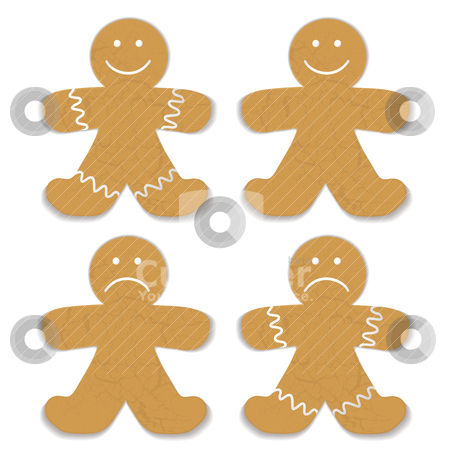 Gingerbread man stock vector clipart, Illustrated gingerbread man with white frosting and smile variation by Michael Travers