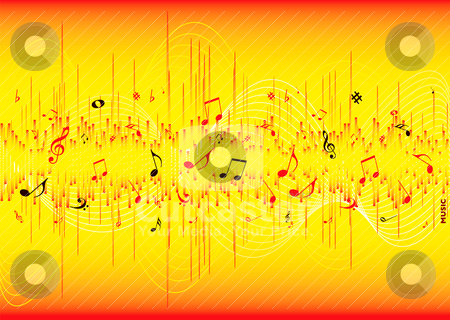 Equalizer note stock vector clipart, Red and yellow musical inspired abstract background with room for your own text by Michael Travers