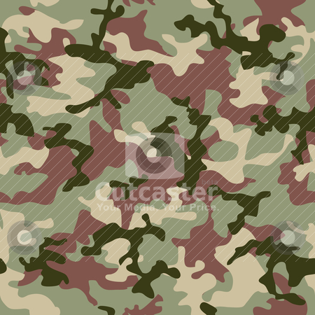 Camouflage jungle stock vector clipart, Illustrated Green camouflage seamless background in forest colors by Michael Travers