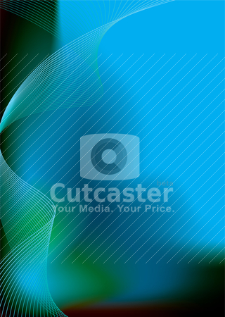 Bluey green glide stock vector clipart, Blue and green background with flowing lines and room to add your own text by Michael Travers