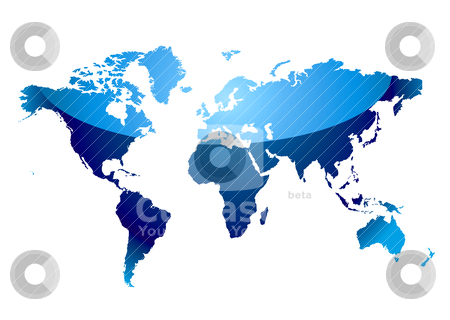 World map reflect blue stock vector clipart, Modern blue world map with light reflection and coast outline by Michael Travers