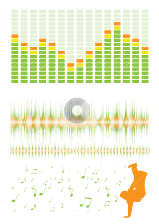 Breakdance equaliser stock vector clipart, Music inspired design elements with graphic equalizer and musical notes by Michael Travers