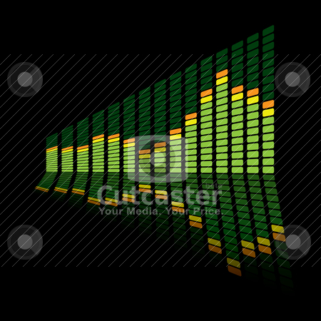 Graphic equalizer angle stock vector clipart, Green music inspired graphic equalizer with reflection and black background by Michael Travers