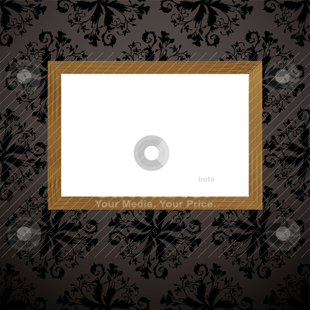 Wood picture frame black stock vector clipart, Black and gray wallpaper design with wooden picture frame and blank copyspace by Michael Travers