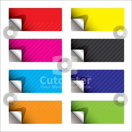 Sticker curl backing stock vector clipart, Sticker set with corner curl and colorful variation by Michael Travers