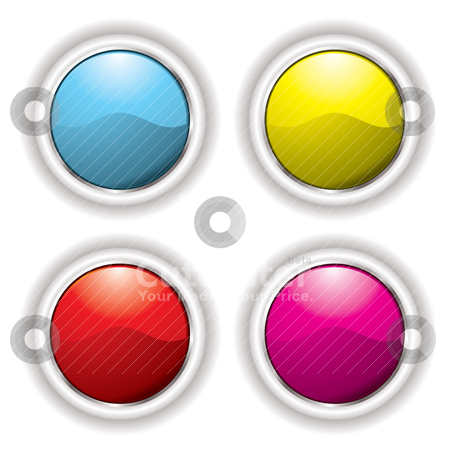 White bevel button stock vector clipart, Collection of four buttons with white bevel and drop shadow by Michael Travers