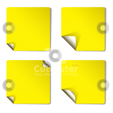 Yellow variation page curl stock vector clipart, Yellow sticker with corner curl and drop shadow by Michael Travers