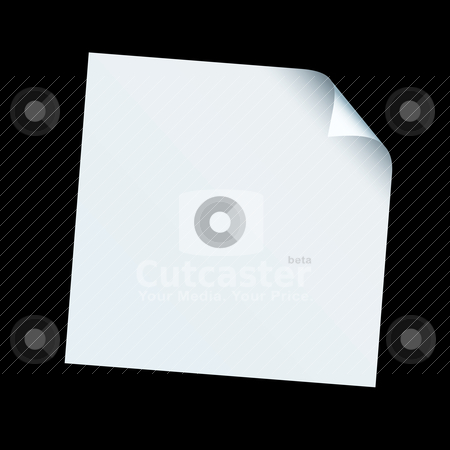 Square paper curl stock vector clipart, White piece of square paper with its edge curled over on a black background by Michael Travers