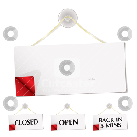 Shop sign stock vector clipart, White shop sign with blank copyspace and corner curl by Michael Travers