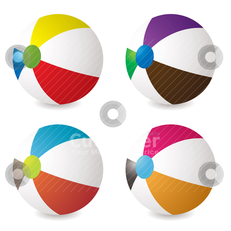 Beach ball set stock vector clipart, Collection of beach balls with modern colours and shadow by Michael Travers