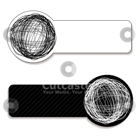 Scribble tag stock vector clipart, Black and white scribble tags with room to add copy by Michael Travers