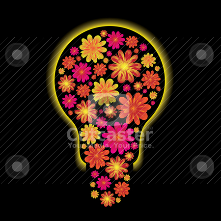 Floral bulb stock vector clipart, Floral light bulb with yellow outter glow and black background by Michael Travers