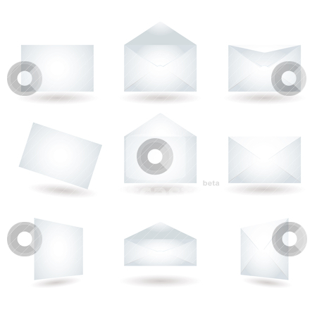 Envelope variation shadow stock vector clipart, Collection of envelopes in different positions with shadow by Michael Travers
