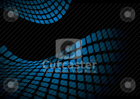 Wavy blue mesh stock vector clipart, Blue and black abstract background pattern with copy space by Michael Travers