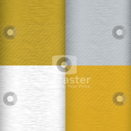 Brushed metal variation stock vector clipart, Four brushed metal background surfaces with color variation and grain by Michael Travers