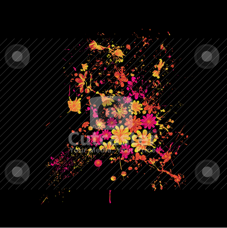 Floral black splat stock vector clipart, Abstract black and brightly colored floral ink splat design by Michael Travers