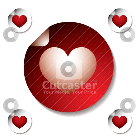 Heart sticker stock vector clipart, Love heart sticker with corner curl and floating shadow by Michael Travers