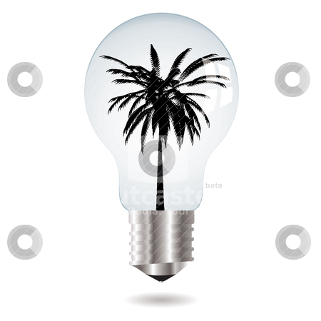 Tree bulb stock vector clipart, Environmental themed image with a light bulb and silhouette palm tree by Michael Travers