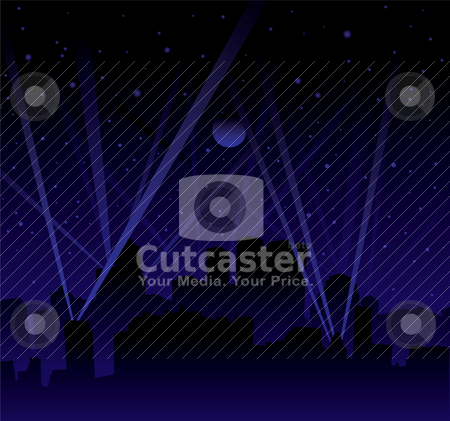Search light skyline stock vector clipart, Dark night with large moon and stars with searchlight and city skyline by Michael Travers