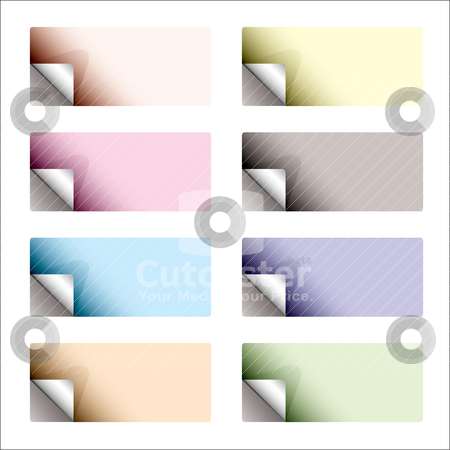 Sticker curl backing pale stock vector clipart, Subtle oblong sticker with page curl and backing by Michael Travers