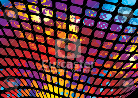 Splat mesh stock vector clipart, Abstract rainbow ink splat background with wave mesh by Michael Travers