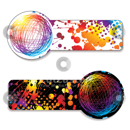 Scribble rainbow tag stock vector clipart, Rainbow ink splat with scribble icon and color variation by Michael Travers