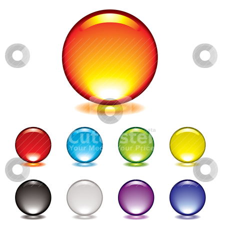 Marble button glow stock vector clipart, Round gel button icon with glow and drop shadow by Michael Travers