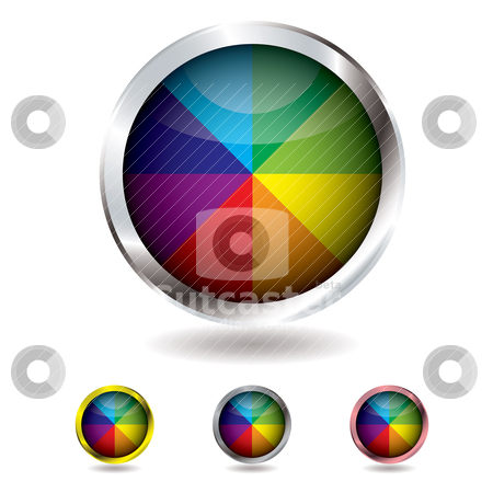 Beach ball button stock vector clipart, Brightly colored beach ball button with metal bevel and shadow by Michael Travers