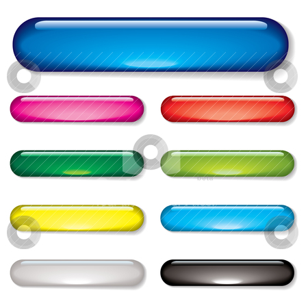 Gel bar button stock vector clipart, Aqua gel web buttons with drop shadow and color variation by Michael Travers