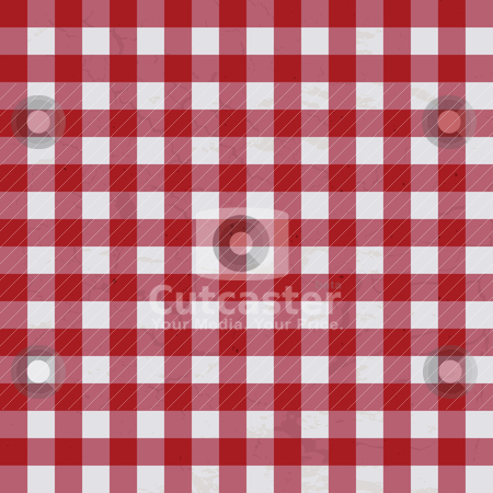 Table cloth stock vector clipart, Red and white textured table cloth which will make ideal background by Michael Travers
