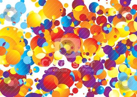 Bubble trouble stock vector clipart, Illustrated Brightly colored abstract background with many bubbles by Michael Travers