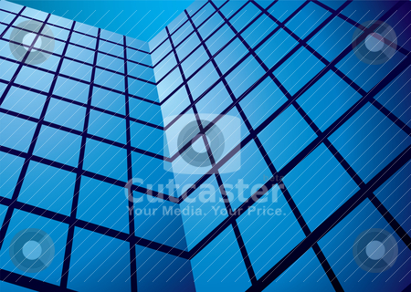 Office building reflection wide stock vector clipart, Office tower blocks with glass front and blue sky by Michael Travers