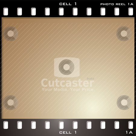 Photo cell brown stock vector clipart, Single photo cell with aged brown sepia effect and copy space by Michael Travers