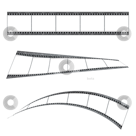 Grunge film strip stock vector clipart, Three film strip with blank place holder and twisted effect by Michael Travers