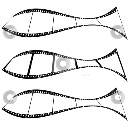 Photo film strip fish stock vector clipart, Film strips warped into a fish shape with room for your own images by Michael Travers