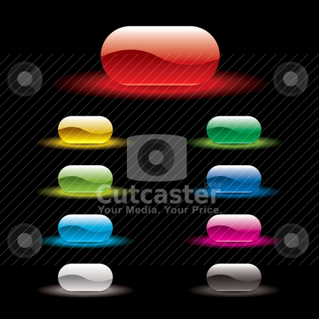 Button glow variation stock vector clipart, Brightly colored abstract icons with outer glow and top reflection by Michael Travers