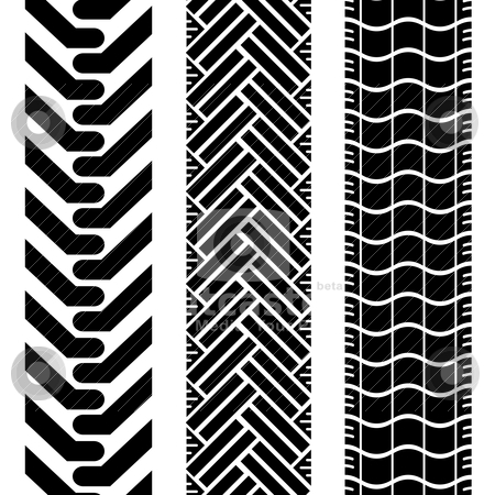 Offroad tires two stock vector clipart, Collection of tire treads in black and white with repeat pattern by Michael Travers