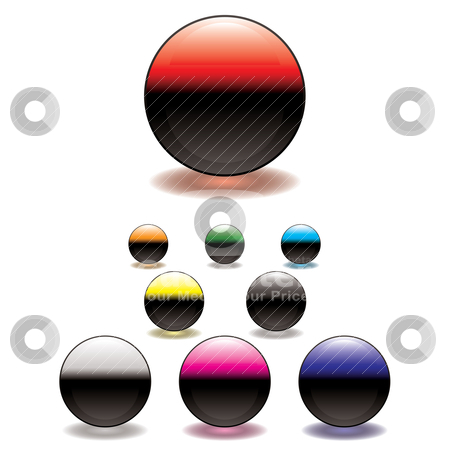 Split circle button stock vector clipart, Colorful gel filled icon button with glowing ring shadow by Michael Travers