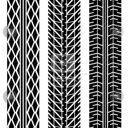 Road tires stock vector clipart, Three different tire tread patterns in black and white by Michael Travers